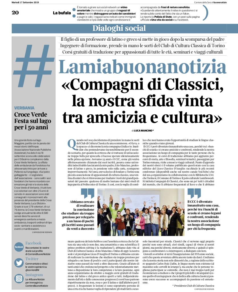 Corriere della Sera, Buone Notizie, 17.09.2019