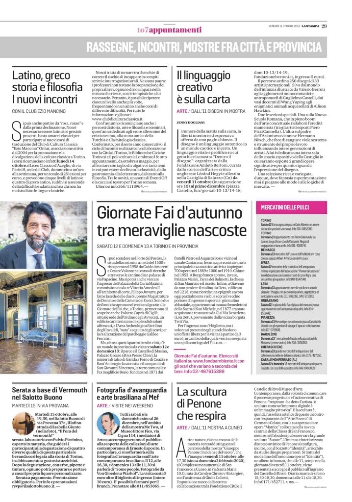 La Stampa, Torinosette (p. 29), 11.10.2019