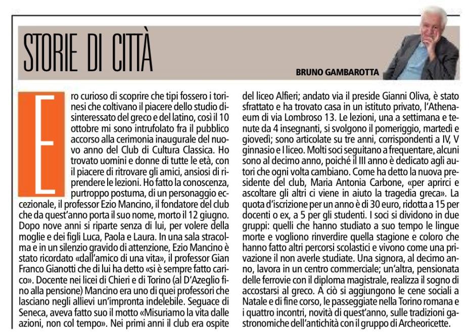 Hanno detto di noi - Articolo di Bruno Gambarotta, TorinoSette, p.5, venerdì 18 ottobre 2013