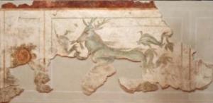 Affresco con cervo marino da una della domus di Alba Pomponia
