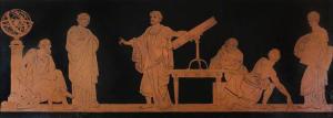 raffigurazione ottocentesca dello studio dell'astronomia realizzata nello stile della pittura attica a figure rosse